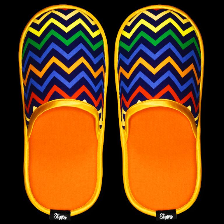Modro oranžové cik-cak pantofle