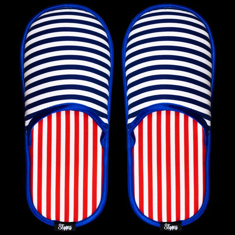 Modro bílé proužkované pantofle