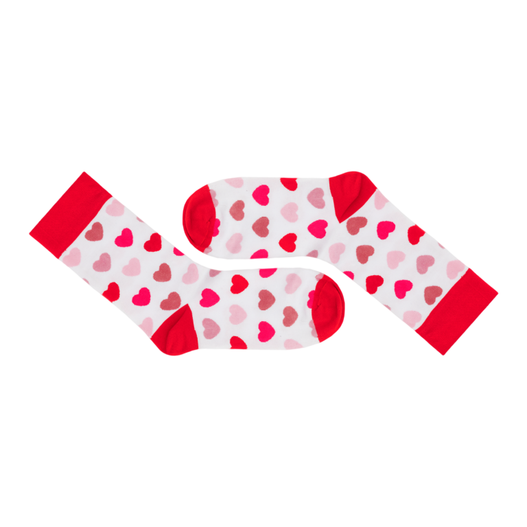 Ponožky s červenými srdíčky
